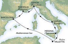 1. denJanov  (Itálie)   Připlutí: -   Odplutí: 17:002. denNeapol (Itálie)   Připlutí: 13:00   Odplutí: 19:003. denMessina  (Itálie)   Připlutí: 8:00   Odplutí: 18:004. denLa Valetta  (Malta)   Připlutí: 08:00   Odplutí: 18:005. denna moři6. denBarcelona  (Španělsko)   Připlutí: 9:00   Odplutí: 18:00 (možný přístav nalodění)7. denMarseille  (Francie)   Připlutí: 9:00   Odplutí: 17:008. denJanov  (Itálie)   Připlutí: 08:00   Odplutí: - (změny trasy vyhrazené)