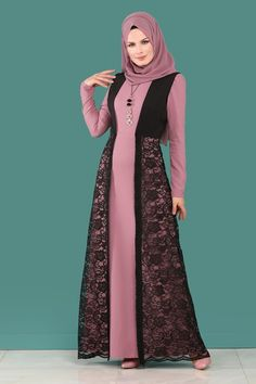 Modaselvim ELBİSE Yeleği Dantel Elbise Kombin ASM2097 Gül Kurusu Batik Fashion, Abaya Fashion, Muslim Fashion, Fashion Dresses, Hijab Evening Dress, Hijab Dress Party, Dress Design Patterns, Simple Long Dress, Dress Brukat