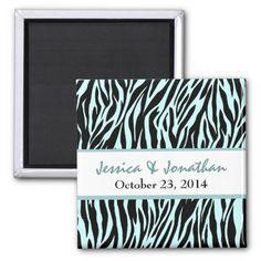 Aqua Black Zebra Save the Date Wedding Refrigerator Magnets