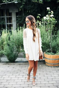 cream crochet dress, strappy sandals, mirrored sunglasses