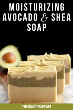 This cold process soap uses shea butter, avocado oil and fresh avocado. Scented with essential oils it makes for a gentle skin loving soap. Soap Making Recipes, Homemade Soap Recipes, Fresh Avocado, Avocado Butter, The Body Shop, Melt And Pour, Savon Soap, Shea Butter Soap, Honey Soap