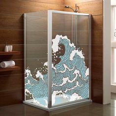 Inunda tu ducha sin derramar una sola gota con estilo japonés gracias a nuestro vinilo decorativo de olas.