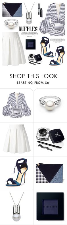 """""""Add Some Flair: Ruffled Tops"""" by pearlparadise ❤ liked on Polyvore featuring Johanna Ortiz, Boutique Moschino, Alexandre Birman, Clare V., Bobbi Brown Cosmetics, contestentry, pearljewelry, pearlparadise and ruffledtops"""