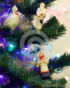 Old Christmas-tree toy glass early 20th century. Toys glass characters tales of Pushkin.