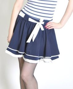 Rockabilly Sailor Style Circle Skirt #sew #fabric #skirt #circleskirt #sailor #nautical #marine #inspiration Sewing Hacks, Sewing Projects, Nautical Marine, Sailor Style, Sailor Fashion, Rockabilly Pin Up, Frocks, Heavenly, Cheer Skirts