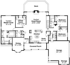 Ranch Style House Plan - 4 Beds 3.00 Baths 2351 Sq/Ft Plan #124-192 Floor Plan - Main Floor Plan