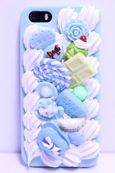 Blue Silicone Rubber White Chocolate, Candy, Macaron, And Ice Cream On Icing Phone Case