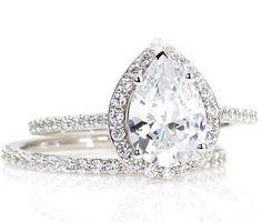 Moissanite Wedding Set Engagement Ring Diamond Halo by RareEarth, $2950.00