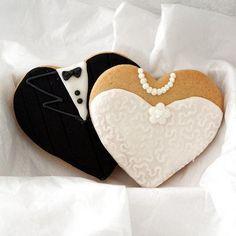 Super cute wedding dessert idea!  Bride and groom cookies!