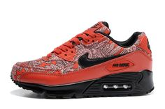 Nike Air Max 90 Porcelain Grain Series 654848-703 Couple Shoes Trainers OrangeRed/Black