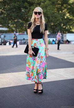 Shop this look on Kaleidoscope (sunglasses, shirt, clutch, skirt, wedge, necklace, bracelet)  http://kalei.do/Vsy1hiN3AWyzWxS3