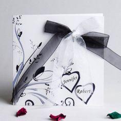 Classic fold black and white ribbon wedding invite