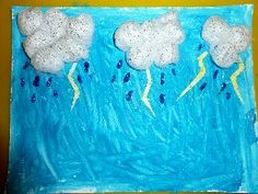 rain painting - cotton ball clouds & glitter raindrops