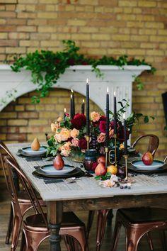 Rustic modern fall tablescape