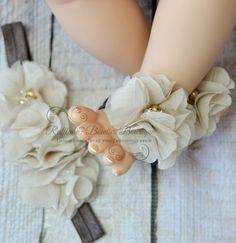 Barefoot Baby Sandals & Headband - Tan