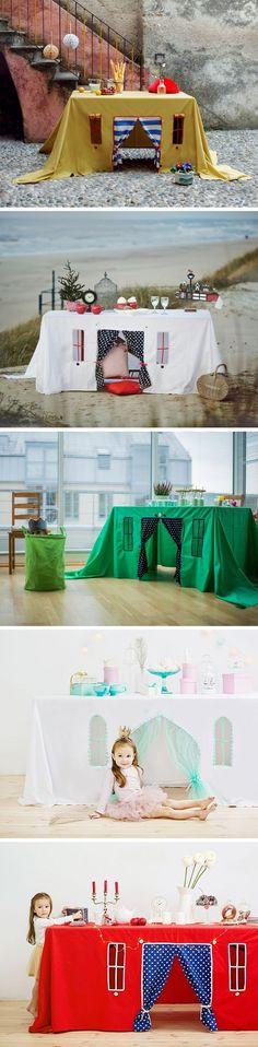 Table play house, playhouse, tablecloth play house, play tent, indoor playhouse, card table playhouse, birthday table decorations