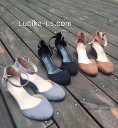 fac19b6563c Luoika Women s Wide Width Mini Wedges - Comfortable Mid Low Heel Ankle  Buckle Strap