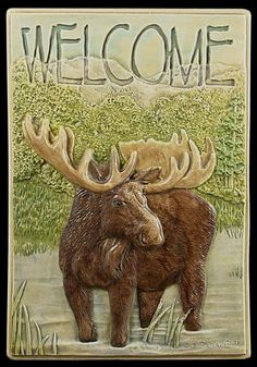Ceramic tile Welcome Moose decorative tile by MedicineBluffStudio, $75.00