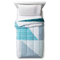 Comforter Colorblock Full/Queen Teal Blue   Room Essentials™