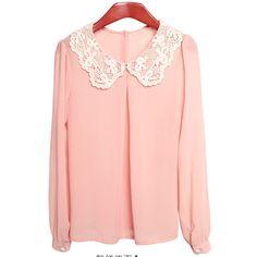 Pink Lace Collar Chiffon Shirt ($33) ❤ liked on Polyvore