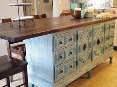how to turn a dresser into a kitchen island idea, kitchen design, painted furniture