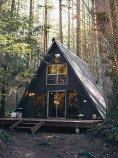 Tye Haus A-Frame Cabin superoriginal A Frame Cabin, A Frame House, Cabin Plans, House Plans, Casa Patio, Cabin In The Woods, Cabins And Cottages, Cabin Homes, Rustic Design