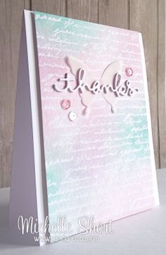 Great background - heat embossing a script stamp and then going over the top with three TH Distress Inks - Evergreen Bough, Spun Sugar and Milled Lavender - bjl