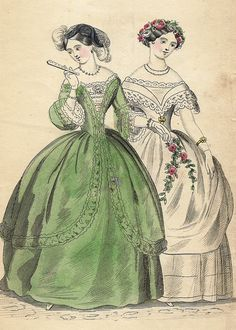 French Fashion Plate - -H-C Lithograph Victorian Era, Victorian Fashion, Vintage Fashion, Historical Costume, Historical Clothing, 1850s Fashion, Women's Fashion, Dress Fashion, Ladies Fashion