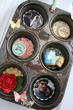 I am going to have to find muffin tins at garage sales! = Neat shadow box idea for a kitchen. - Also for Christmas Gifts. Imagine photos of Grandma in kitchen with grandkids. :)