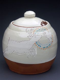 Deer and Bird Jar by Ayumi Horie Pottery, via Flickr