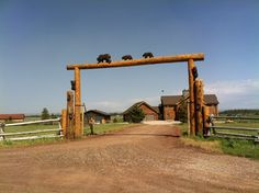 If I ever own a ranch this is what I want the beginning of my drive way to look like Cedar Crest, Farm Signs, What I Want, Animal Crossing, Gate, Ranch, Entrance, That Look, Outdoor Structures