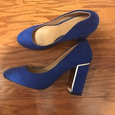 I just discovered this while shopping on Poshmark: Cobalt Blue Dune London Block Heel Pumps. Check it out!  Size: 7, listed by keriannh17