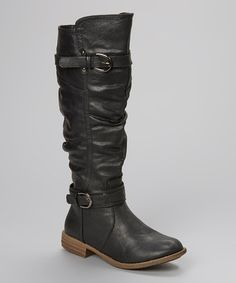 Another great find on #zulily! Black Double-Buckle Boot by Shoes of Soul #zulilyfinds