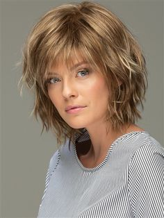 Messy Look Women's Shoulder Length Style Features Choppy Layers Wavy Human Hair Wigs Lace Front Wigs - Hair Styles Short Shag Hairstyles, Wig Hairstyles, Short Shaggy Haircuts, Hairstyle Short, Bridal Hairstyle, Hairstyles 2018, Short Shaggy Bob, Older Women Hairstyles, Style Hairstyle