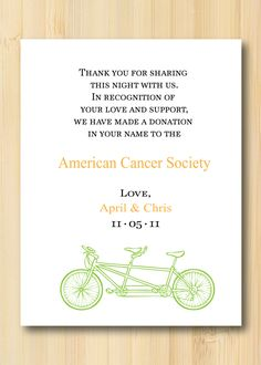 In lieu of wedding favors, donate to your favorite charity and let your guests know via something super-cute.