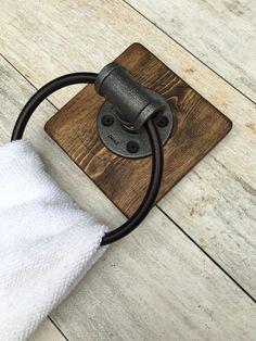 Industrial Rustic Hand Towel Holder On Barnwood