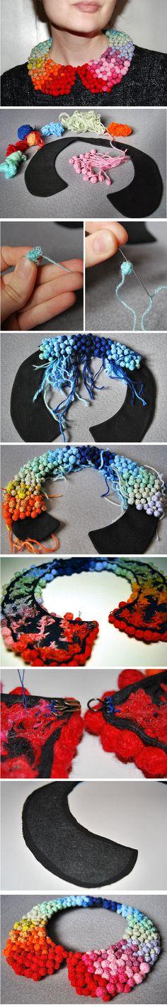 Rainbow Pom Pom Collar Necklace