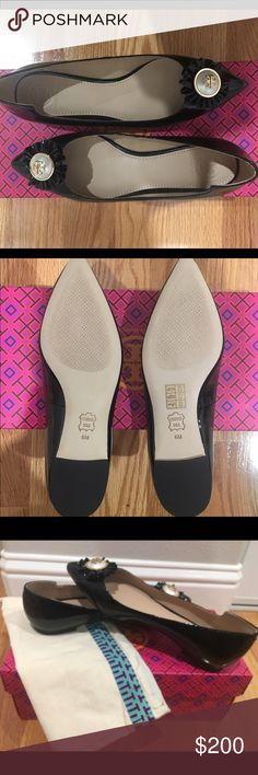 Tory Burch Melody Flat Patent Leather Brand new, never worn Melody Flat is decorated with a logo-accented pearl encircled with a ruffle. An elongating silhouette, done in glossy patent leather, it has a pointed toe and an elegantly contoured notched collar. A little something special, it can dress up any look, by day or after dark. Leather lining and sole. Changed my mind about these a little while ago and selling them now. Currently still in stores. Fits true to size and comes with pristine…
