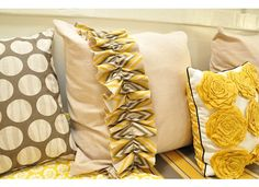 {Diy pillow ideas} For Marleys room I will use pink,white,and gray. Thinking a few bright colors like turquoise,coral,& yellow :)
