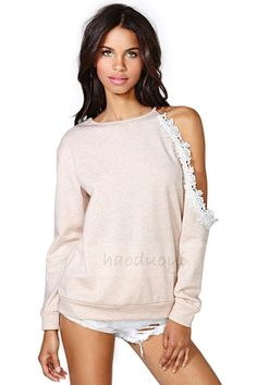 sexy off the collar sweaters | shoulder off lace decorated long sleeves round neck knitting sweater ...