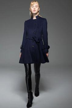 Women's Car Coat Navy Blue Short Winter Jacket Fit &