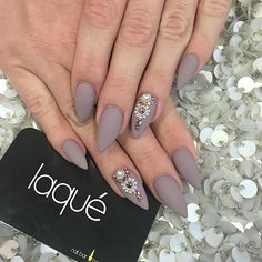 coffin naildesigns matte almond on Instagram