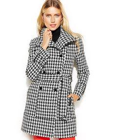 Calvin Klein Houndstooth Wool-Blend Trench Coat