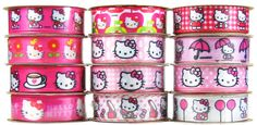Hello Kitty grosgrain ribbon Hello Kitty Photos, Wholesale Ribbon, Toddler Hair Bows, Grosgrain Ribbon, Sanrio, Holiday Decor, Ribbons, Fan, Friends