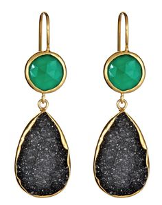 Margaret Elizabeth 2 Stone Drops Green Onyx & Black Druzy