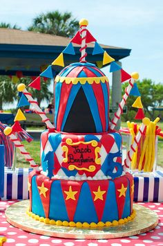 Carnival Birthday Party cake! See more party ideas at CatchMyParty.com!