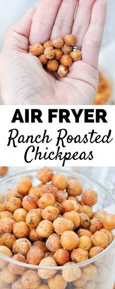 Air Fryer Ranch Roasted Chickpeas - My Suburban Kitchen Made easy in the air fryer, these Ranch Roasted Checkpeas are perfect for topping a salad, or even just snacking! This is one of the best crunchy chickpea recipes! Air Fryer Recipes Vegetarian, Air Fryer Recipes Vegetables, Air Fryer Recipes Snacks, Air Fryer Recipes Low Carb, Air Frier Recipes, Air Fryer Recipes Breakfast, Air Fryer Dinner Recipes, Chickpea Recipes, Chickpea Snacks