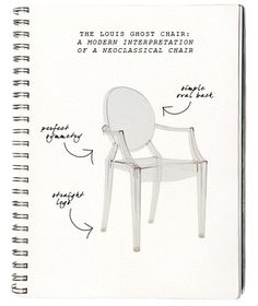 Ghost chair: Louis Ghost Chair by designer Philippe Starck for Kartell. A modern interpretation of a French chair typical of the Neoclassical period of Louis XVI's reign (1774 - 1791).