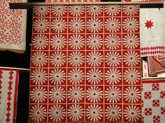 Red and white quilts at the American Folk Art Museum.