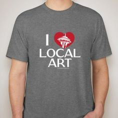 """Our new Seattle Artists """"I (heart) Local Art"""" t-shirt. Available for order. Support local artists and their work."""